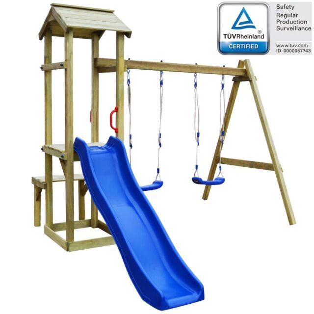 vidaXL Children Kids Playhouse Set With Slide Swings Climbing Frame ...