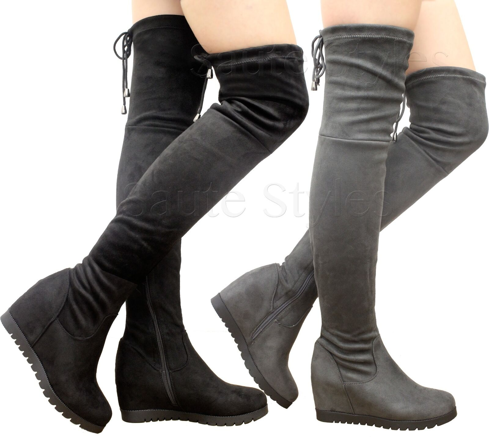 Ladies Womens Over The Knee Boots Thigh High Tie Back High Wedge Heel Shoes Size