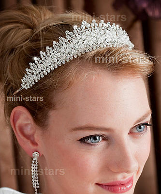 Bridal Wedding Sparkling Tiara use Austrian Crystal Beads AT1313