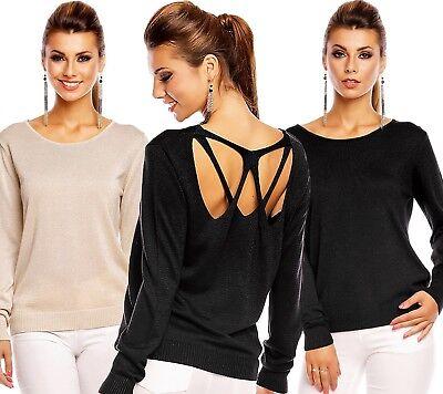 Pull Femme Col Rond Dos Nu Ouvert Top Sexy Fashion Beige Ou Noir T.m/l 38/40 Buon Sapore