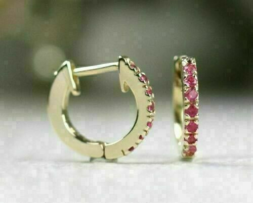 1.0Ct Round Cut Red Ruby Hoop//Huggie Earrings For Women/'s 14K Yellow Gold Finish