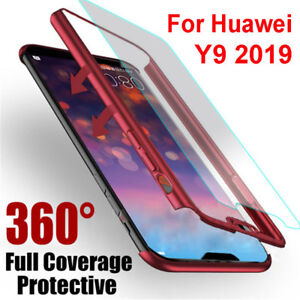 reputable site ba503 86148 Details about For Huawei Y9 2019 360° Cover Front + Back PC + Tempered  Glass Shockproof Case