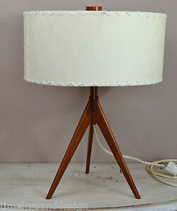 Rare Scandinavian Tripod Table Lamp Teak Brass Bast Fiber Shade Mid