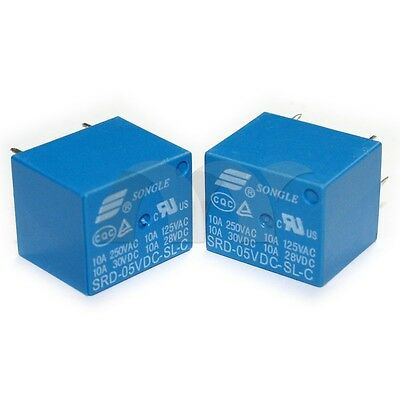 2 Pcs 5V DC SONGLE Power Relay SRD-05VDC-SL-C PCB Type