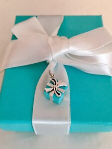 d5d7c8abe24ac Details about Tiffany & Co Blue Enamel Gift Box Charm Pendant For Necklace,  Bracelet RRP $430