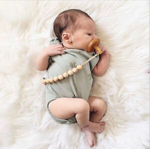Baby Infant Wooden Beaded Pacifier Holder Clip Chain Nipple Teether Dummy Strap
