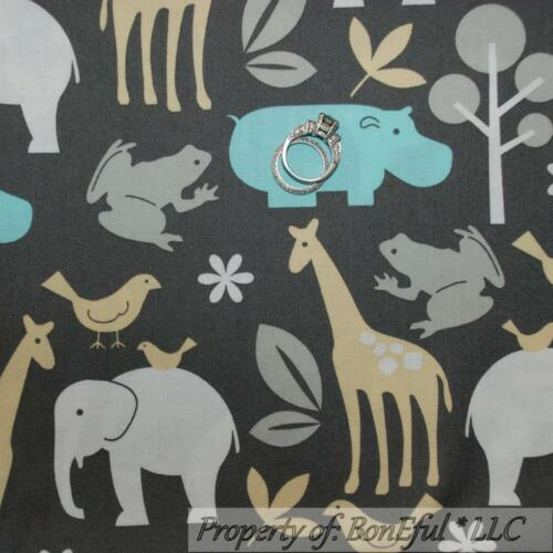 BonEful Fabric FQ Cotton Quilt Gray Elephant Blue Yellow White Baby Nursery Zoo