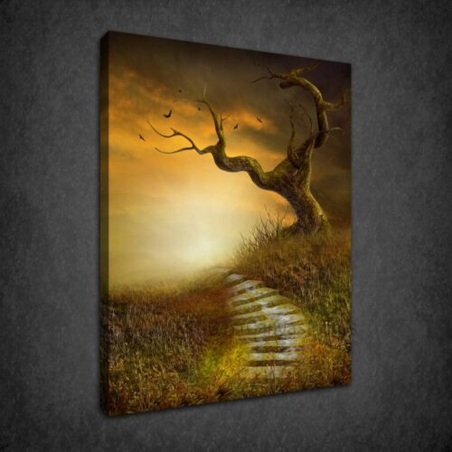 STAIRS TO HEAVEN AUTUMN TREE MODERN BOX CANVAS PRINT WALL ART PICTURE