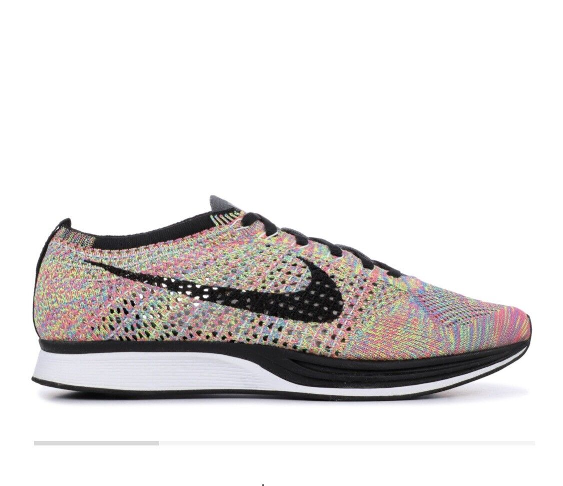 NEW Nike Flyknit Racer Multi color 3.0 2016 526628-004  2.0 Grey Tongue Size 12