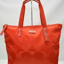 Coach Packable Signature Small Zip Tote Vermilion Tote Purse