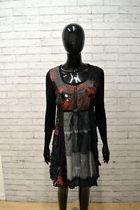 Tubino-Vestito-Donna-DESIGUAL-Taglia-Size-S-Abito-Nero-Grigio-Woman-Dress-Black