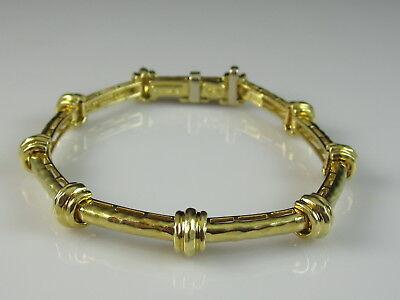 "Henry Dunay 18K Hammer Bracelet Yellow Gold Fine Jewelry 750 ~ 21.7gr ~ 6.75"""