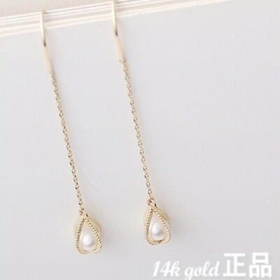 14K Solid Yellow Gold Simple Chain Threader Long Drop Dangle a Pair Earrings TPD