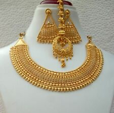 """4Indian 22K Gold Plated Bollywood 9"""" Long Gorgeous Necklace Earrings Tikka Set a"""