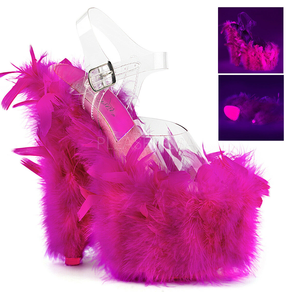 Pleaser ADORE-708F Exotic Dancing Platform Ankle Ankle Ankle Strap Sandal Marabou Feather bde0ba