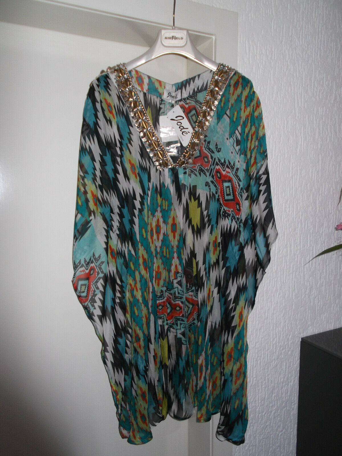 Jodé London Gr. S 36/38 Beachwear Kaftan Tunika Strandkleid Seide NEU m. Etikett