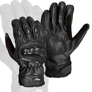 Black-Leather-Motorcycle-Gloves-Motorbike-Carbon-Knuckle-Pads