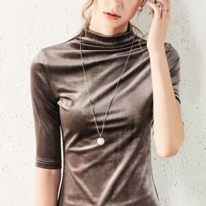 Women-Velvet-Shirt-Tops-Casual-Blouse-Half-Sleeve-Turtle-Neck-Slim-Retro-T-shirt