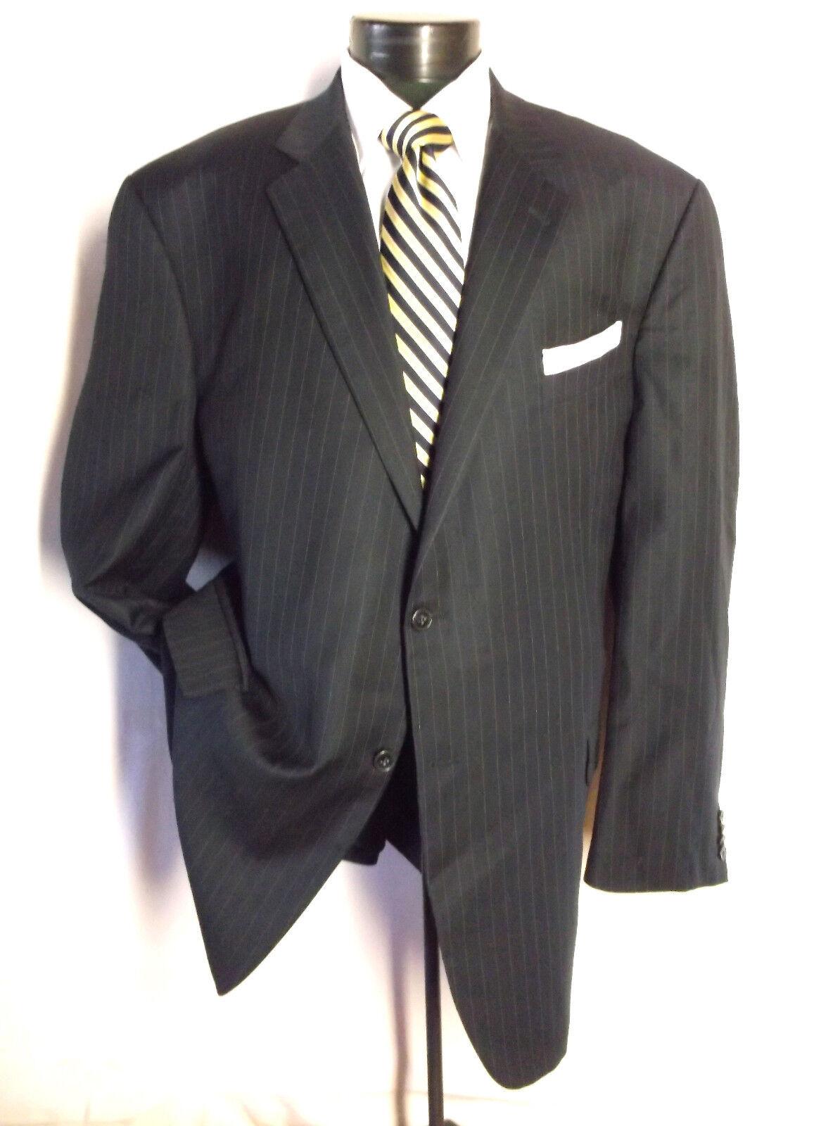 Joseph Abboud 2PC Suit Navy bluee Striped 3 Button 46L Pants 44  x 28