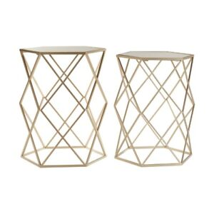 Arcana Side Coffee Tables Mirror Top Champagne Hexagonal Set Of 2