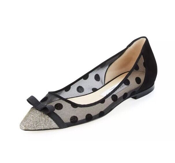 Jimmy Choo 7187 Women's 41 Dorothy Polka-Dot Mesh Flat Size 41 Women's EU $565 0f7b33