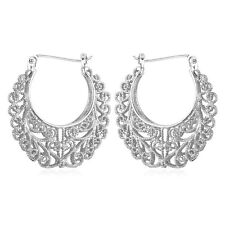 Classic Earring Jewelry Gift Basketball Wives White Gold Plated Hoop Earrings