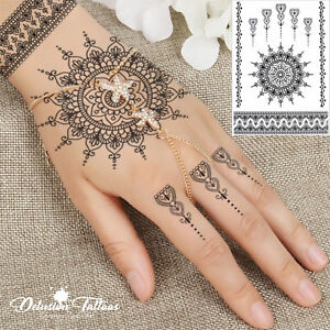 Temporary Tattoo Black Henna Mandala Mehndi Flower Lace Hand