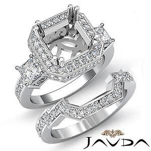 Diamond-Engagement-3-Stone-Halo-Setting-Ring-Bridal-Sets-Platinum-950-1-5Ct