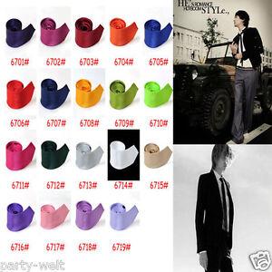 New-Fashion-Men-039-s-Pure-Color-Silk-Fabric-British-Style-Slim-Neckwear-Necktie-Tie