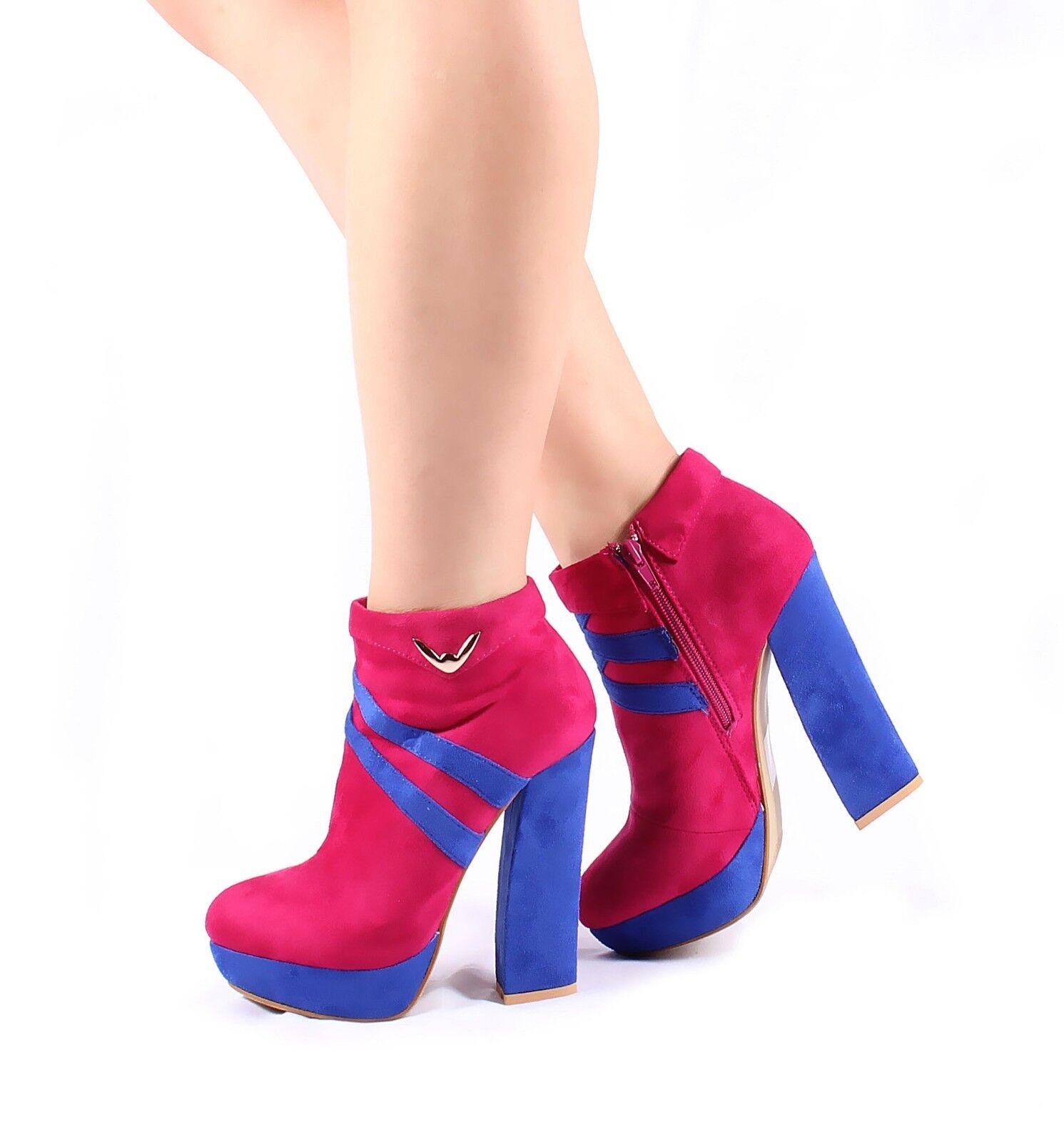 "Fuchsia Ankle Boot Pump Prom Stilettos Platform Womens 5"" Heel Shoes Sz 7.5"