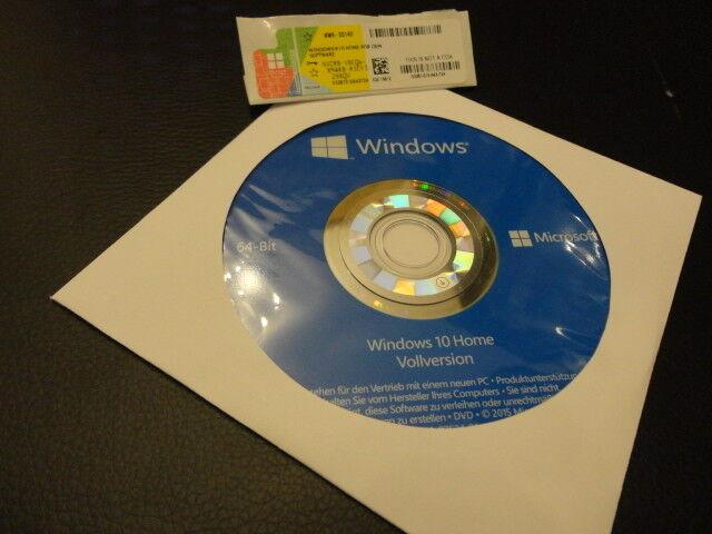 Windows 10 Home 64Bit DVD + Win 10 Home Product Key Lizenz FOR COA OEM