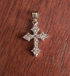 10K White Gold Charm Pendant Themed 16 mm 8 Passion Cross