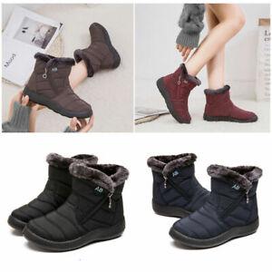 Damen High Stiefeletten Boots Stiefel Warm Winterstiefel Schnee Flache Schuhe