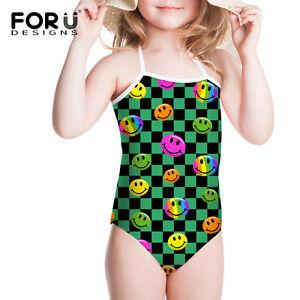 600901c1469d2 Girls Kids Cool Emoji Swim Bikini Set Beachwear Swimsuit Swimwear ...