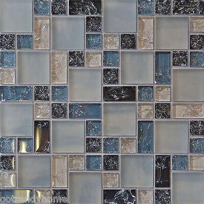 1-SF Blue crackle glass mosaic tile Backsplash Kitchen wall bathroom shower 1