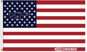 Never-Surrender-AR-15-flag-100-MADE-IN-THE-USA-Nylon-3-039-x5-039