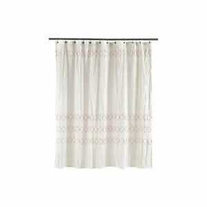 Image Is Loading Threshold Smocked Zigzag White Embroidered Shower Curtain NWT