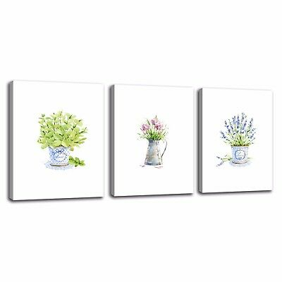 3pcs Flowers Vase Canvas Porch Corridor Frameless Home Art Decor Wall Printings