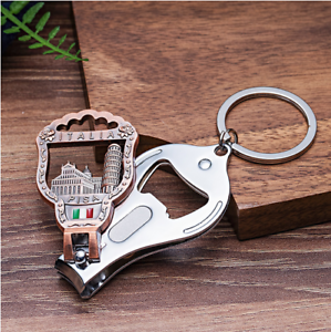 Keychain Nail Clipper Vintage 3D Relief Leaning Tower of Pisa Florence Cathedral