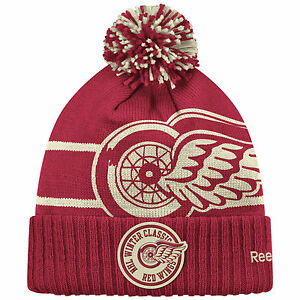 DETROIT-RED-WINGS-2014-NHL-WINTER-CLASSIC-REEBOK-CUFFED-POM-KNIT-HAT-TOQUE