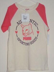 NEUF-PUMA-T-shirt-graphique-taille-9-10-ans-blanc-casse-orange-filles-authentuc