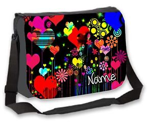 85fe8c6f41fc Details about Funky Rainbow Heart Bag Personalised College / Messenger /  School / Laptop Bag