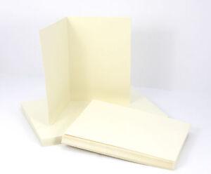 50-x-Klappkarten-amp-Briefumschlaege-Kraftpapier-CREME-12-7x17-8cm-Doppelkarten
