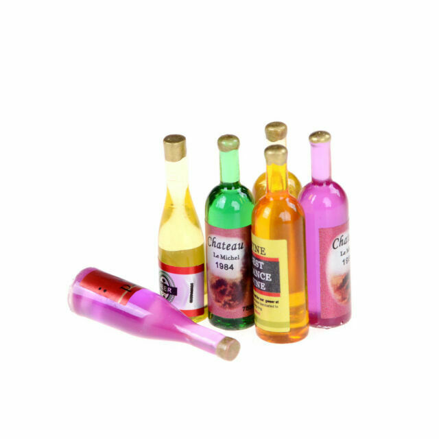 Set of 6Pcs Colorful Wine Bottles Dollhouse Miniature 1:12 Scale TOY Decor BH