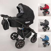 Luxury Baby Pram Stroller Car Seat - Pushchair - Buggy Swivel Wheels