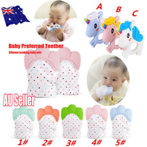 1/2 Silicone Baby Mitt Mitten Teething Glove Unicorn Candy Wrapper Sound Teether
