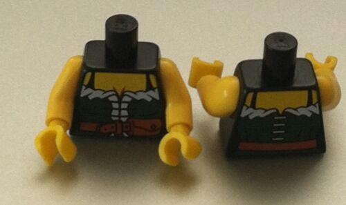 *NEW* 4 Pieces Lego Minifig Black Torso Pirate FEMALE DARK GREEN Corset w// Belt