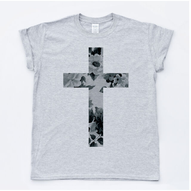 CROSS Black Flower Hipster Crucifix Tee Indie Religion Top Fresh T-shirt