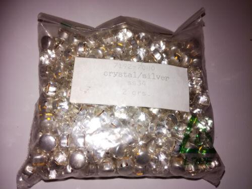 100 x Preciosa MC Chaton Strass Crystal//Silver SS34 Glitzersteine Art.7192-7080