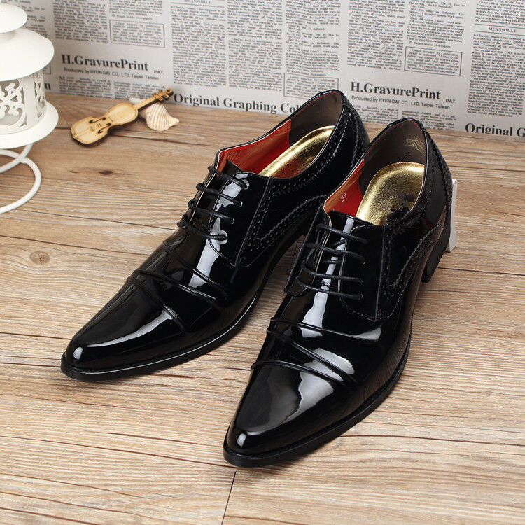 Fashion Men Pointy Toe Dress Formal Lace Up Oxfords Wedding Patent leather shoes